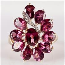 10k Yellow Gold Rhodolite Garnet Floral Cocktail Ring W/ Diamond Accent 10.07ctw