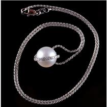 "18k White Gold Akoya Cultured Pearl & Diamond Pendant W/ 16"" Chain .20ctw"