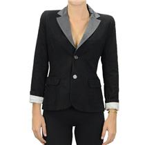 XS Diesel Black Gold Label Canvas Blazer Jacket Grey Satin Collar Striped Lining