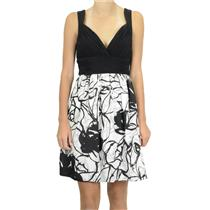 NWT Max & Cleo Black White Sleeveless Padded Bust Printed Skirt Empire Dress