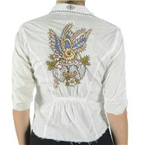 S Soul Revival White Bird Forever Embroidered Crystal Cotton Blouse w/Nailheads