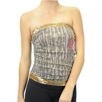 S FRESH Karma Brand Sequin Trim Ruched Side Strapless Tube Top Camo w/Applique