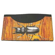 NWT Boutique Black Wooden Print Beetle Leather Card Carrier Mini Wallet Credit