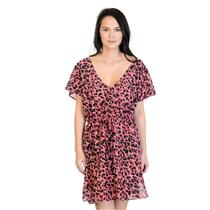 NWT Sz 4 L.K. Bennett Black/Carnelion Cheetah Short Sleeve Cover-Up Beach Dress