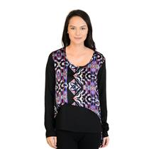 NWT! Sz S Romeo & Juliet Couture Silky Black & Graphic Top w/Cool Back RJLT10908