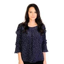 Size 2 MAEVE Anthropologie Navy 3/4 Ruffle Sleeve Blouse w/Mint Polka Dots