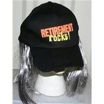 Black Retirement Rocks Baseball Hat with Long Grey Hair Over The Hill Gag Gift