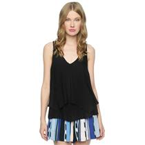 S NWT Ella Moss Black Stella Crepe Layered Ruffled Sleeveless Tank Top ET15250