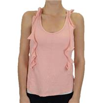 M NWT Bobi Peachy Pink Creamsicle Ruffle Front Keyhole Jersey Racerback Tank Top