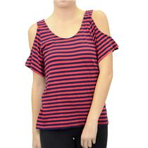 NWT Bobi Yabel Open Drape Back/Shoulders Knit Top Red/Navy Blue Stripe 533-43506