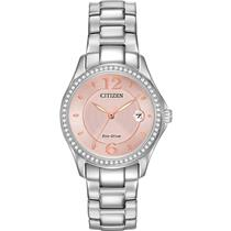Citizen Ladies Pink Dial w/ Swarovski Diamonds Bezel. Eco Drive Solar/Light Powered All Steel