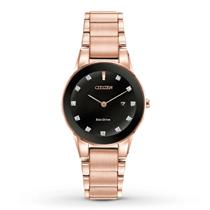Citizen Axiom Unisex Rose/Pink Gold Bracelet w/Diamond Dial and Date.