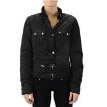 L TWILLTWENTYTWO Twill 22 Quilted Nylon Puffer Coat Black Bomber Jacket Buckles