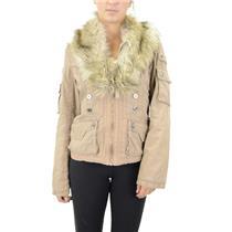 M Twilltwentytwo Beige Canvas Utility/Cargo Jacket w/Removable Faux Fur Collar
