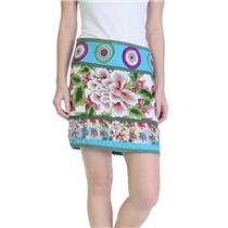 6/40 Desigual Teal/Green Multi-Color Floral Print Side Zip Mini Skirt W/ Logo