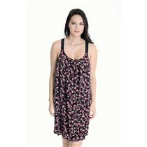 M Honey Punch Black Foral Print Knot Racer Back 100% Rayon Elastic Strap Dress
