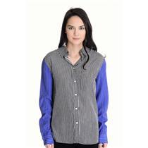 NWT Sz M Vintage Havana Black Stripe Body w Blue Striped Sleeves Button Up Shirt