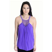 6 Rebecca Taylor Purple 100% Silk Macrame Woven/Fringe Front Sleeveless Tank Top