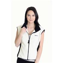 L Obermeyer Black & Ivory SOFT Two Tone Warm Sleeveless Vest Full Zip Front