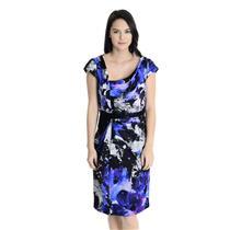 NWT! Sz 6 Carmen Marc Valvo Royal Blue Watercolor Print 100% Silk Evening Dress