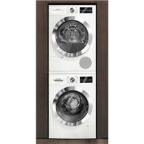 BOSCH 800 Series Washer And Dryer Set White + Stacking Kit Descriptive Pictures