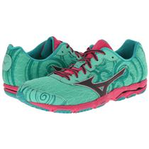 Mizuno Women's Wave Hitogami 2 Running Shoes Green Pink 7.5