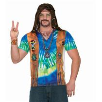 Men's Realistic Instant Male Hippie Sublimation T-Shirt Adult Size Large