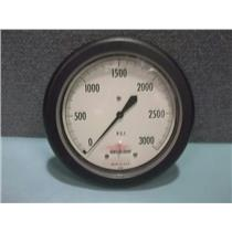 "Acco Helicoid Pressure Gauge 4 1/2"" Front Flange 3000 PSI Lower Back 1/4 NPT"