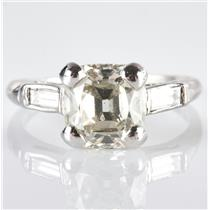 Vintage 1930's Platinum Old Mine Cut Diamond Solitaire Engagement Ring 2.16ctw