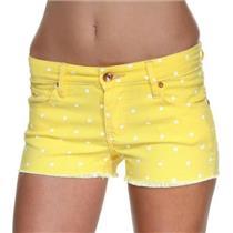NWT! 24 Quicksilver Women's Lamrocks Sun Yellow Polka Dot Denim Raw Edge Shorts
