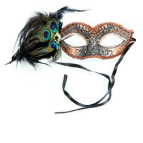 Bronze Crackled Masquerade Venezia Eye Mask with Peacock Feathers and Jewels