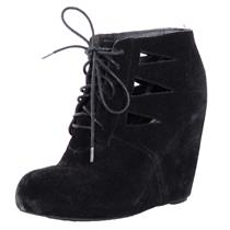 Sz 7.5 Steve Madden Black Raider Suede Leather Lazer Cut Lace Up Wedged Booties
