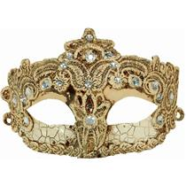 Beige Crackle Brazilian Diamond Masquerade Eye Mask With Lace and Rhinestones