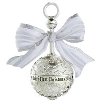 Carlton Heirloom Ornament 2014 Baby's First Christmas - Metal Rattle - #CXOR001F