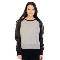 Sz S Nike Sportswear Gray Crew Neck Sweatshirt w/Black Lambskin Leather Sleeves
