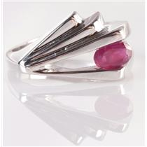 """14k White Gold Oval Cut """"A"""" Ruby Solitaire Ring .50ct"""