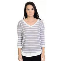 S Splendid Purple/Lavender/ Ivory Thin Striped Long Sleeve V-Neck Knit Sweater