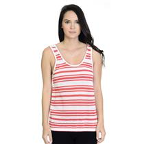 S Rag & Bone Jeans Red and White Stripped Knit 100% Cotton Scoop Neck Tank Top