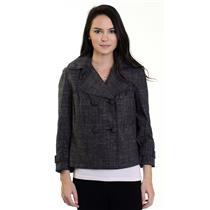 Sz 6 Calvin Klein Gray Plaid Double Breasted Button Front Wrist Buckle Jacket