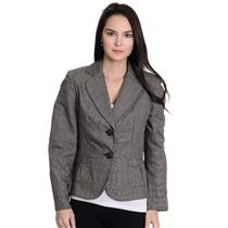 Size 6P Ann Taylor Gray/ White Plaid Button Front Long Sleeve Blazer w/ Pockets