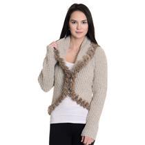 Sz S Moda International Beige Long Sleeve Open Front Faux Fur Trim Knit Cardigan