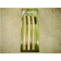 "3- 8"" Wooden Handle Wire Brush Set, Stainless Steel, Brass, Nylon, Prospecting"