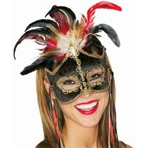 Black Bird of Paradise Venetian Feather Mardi Gras Mask 4291