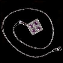 18k White Gold Pink Sapphire & Diamond Pendant W/ 14k White Gold Chain 1.65ctw