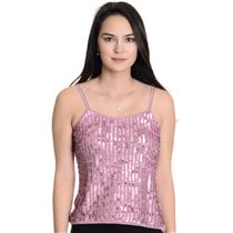 NWT!Sz M Bisou Bisou By Michelle Bohbot Metallic Pink Knit Sequin Front Tank Top