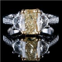 Platinum & 22k Yellow Gold Radiant Cut Yellow Diamond Engagement Ring 3.23ctw