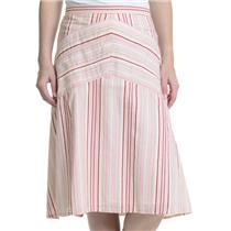 6 Matty M Pink/Red Striped 100% Cotton Lined Skirt With Back Zip/Button Closure