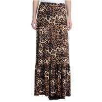 S NEW Veronica M Ruffle Bottom Maxi Skirt in Roberto Leopard Print Jersey Knit