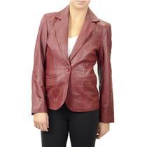 S NWT in Suede Burgundy Dark Red 100% Leather Blazer Cut Lined w/ Pockets Jacket