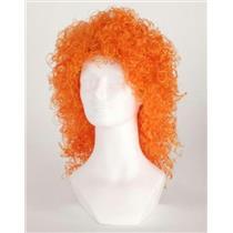 Orange Wet Look Long Curly Clown Costume Wig
